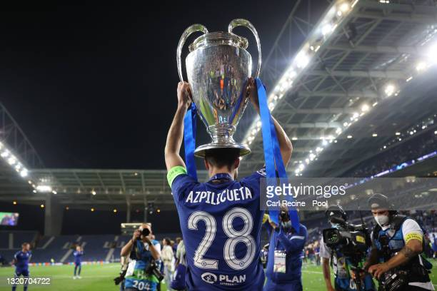 Cesar Azpilicueta of Chelsea celebrates with the Champions League Trophy following their team's victory during the UEFA Champions League Final...