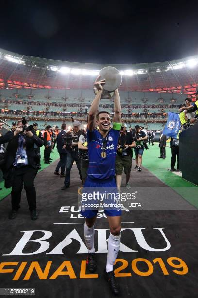 Cesar Azpilicueta of Chelsea celebrates with the Europa League Trophy following his team's victory in the UEFA Europa League Final between Chelsea...