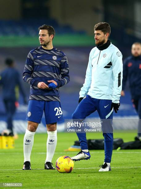 Cesar Azpilicueta of Chelsea chats with Jorginho of Chelsea during the Premier League match between Chelsea and Tottenham Hotspur at Stamford Bridge...