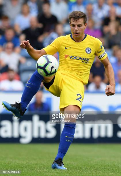 Cesar Azpilicueta of Chelsea controls the ball during the Premier League match between Huddersfield Town and Chelsea FC at John Smith's Stadium on...
