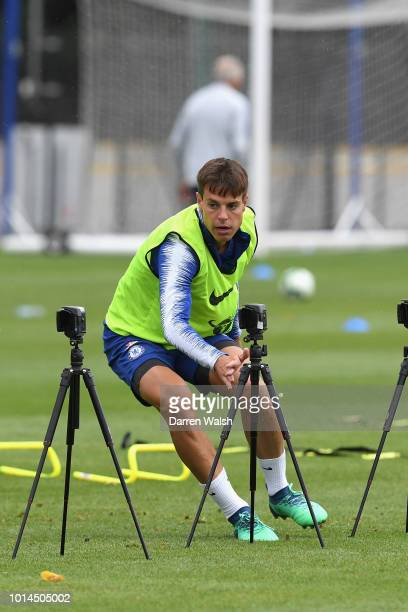 Cesar Azpilicueta of Chelsea during a training session at Chelsea Training Ground on August 10 2018 in Cobham England