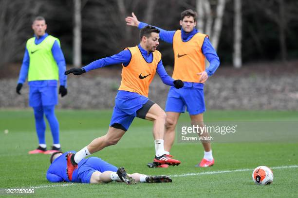 Cesar Azpilicueta of Chelsea during a training session at Chelsea Training Ground on February 21 2020 in Cobham United Kingdom