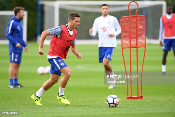 Cesar Azpilicueta of Chelsea during a training session at Chelsea Training Ground on August 10 2017 in Cobham England