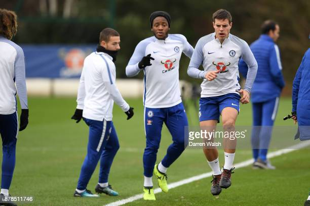 Cesar Azpilicueta of Chelsea during a training session at Chelsea Training Ground on November 24 2017 in Cobham England