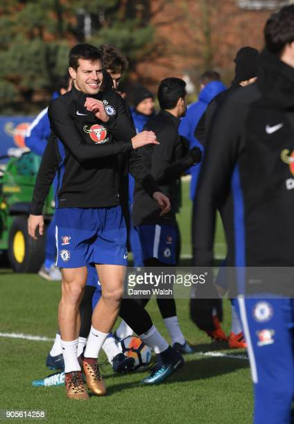 Cesar Azpilicueta of Chelsea during a training session at Chelsea Training Ground on January 16 2018 in Cobham England