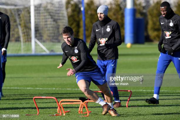 Cesar Azpilicueta of Chelsea during a training session at Chelsea Training Ground on January 19 2018 in Cobham England