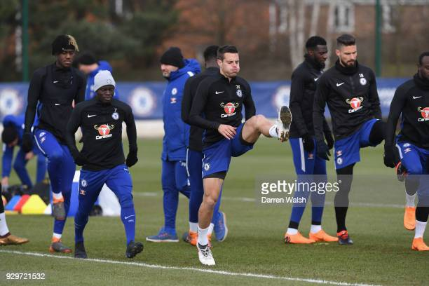 Cesar Azpilicueta of Chelsea during a training session at Chelsea Training Ground on March 9 2018 in Cobham England
