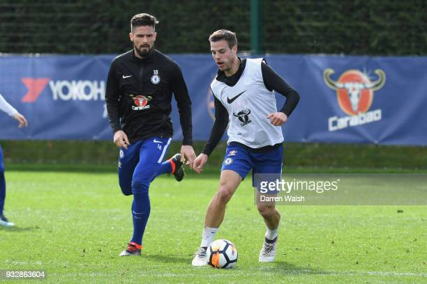 Cesar Azpilicueta of Chelsea during a training session at Chelsea Training Ground on March 16 2018 in Cobham United Kingdom