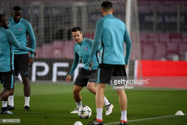 Cesar Azpilicueta of Chelsea during a training session at Nou Camp on March 13 2018 in Barcelona Spain