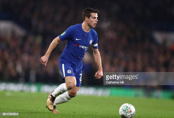 Cesar Azpilicueta of Chelsea during the Carabao Cup SemiFinal First Leg match between Chelsea and Arsenal at Stamford Bridge on January 10 2018 in...