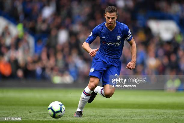 Cesar Azpilicueta of Chelsea during the Premier League match between Chelsea FC and Watford FC at Stamford Bridge on May 05 2019 in London United...