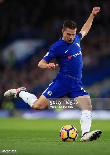 Cesar Azpilicueta of Chelsea during the Premier League match between Chelsea and Crystal Palace at Stamford Bridge on March 10 2018 in London England