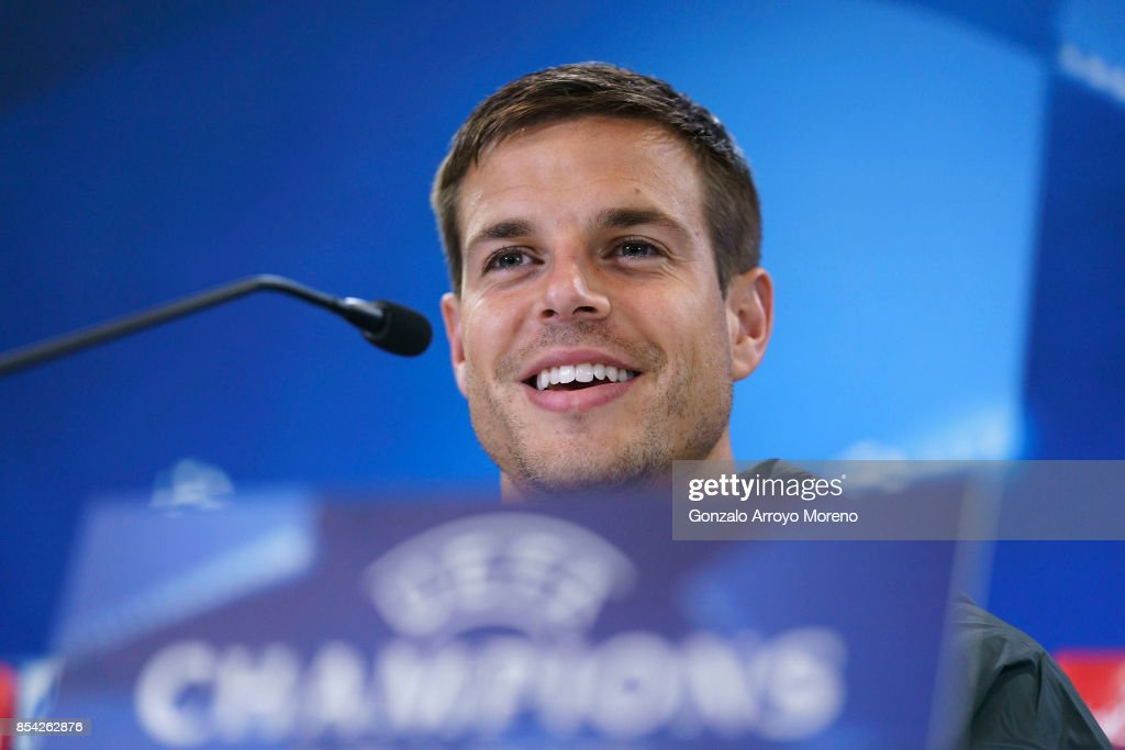 Cesar Azpilicueta of Chelsea FC answers questions from the media during a press conference ahead of the UEFA Champions League Group C match between Atletico de Madrid and Chelsea FC at Wanda Metropolitano stadium on September 26, 2017 in Madrid, Spain.