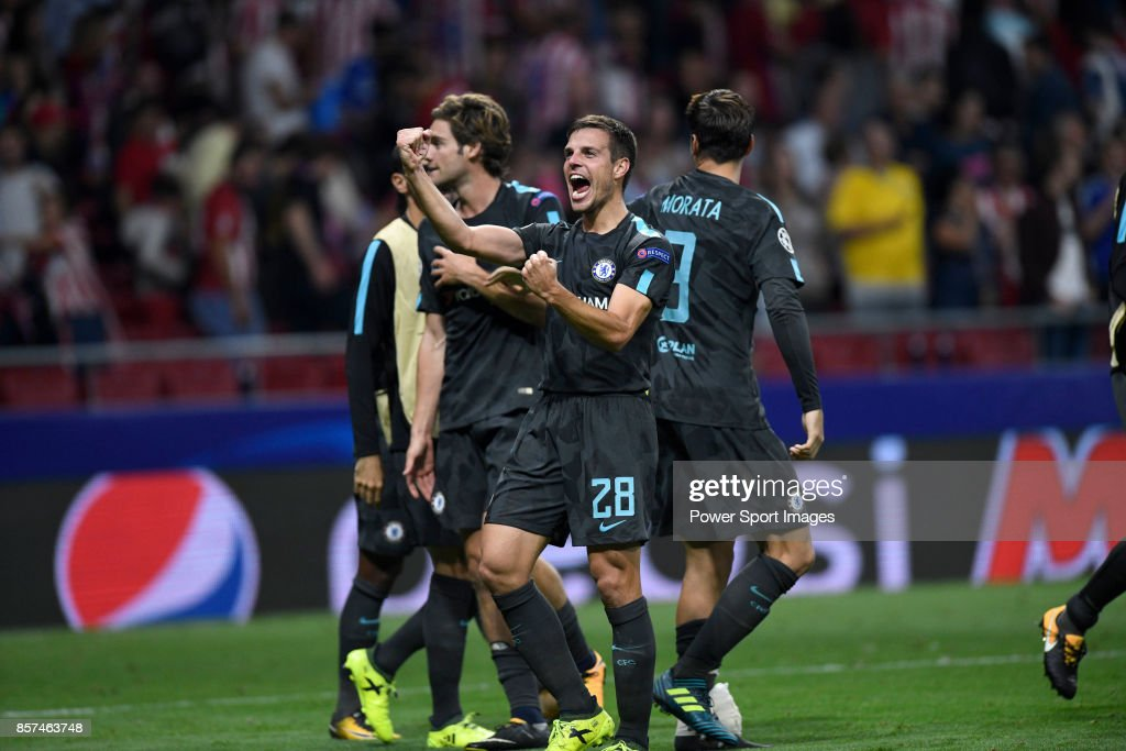 Cesar Azpilicueta of Chelsea FC celebrates during the UEFA Champions League 2017-18 match between Atletico de Madrid and Chelsea FC at the Wanda Metropolitano on 27 September 2017, in Madrid, Spain.