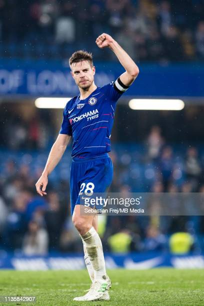 Cesar Azpilicueta of Chelsea FC reaction during the Premier League match between Chelsea FC and West Ham United at Stamford Bridge on April 8 2019 in...
