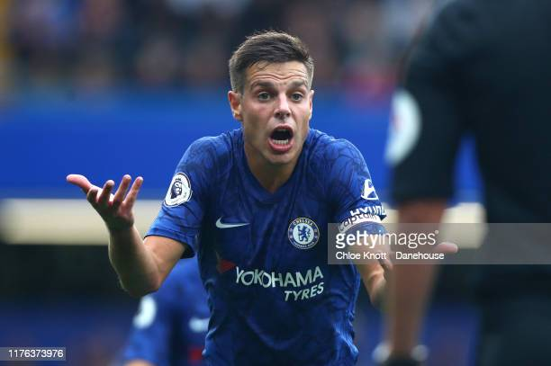 Cesar Azpilicueta of Chelsea FC reacts during the Premier League match between Chelsea FC and Liverpool FC at Stamford Bridge on September 22 2019 in...