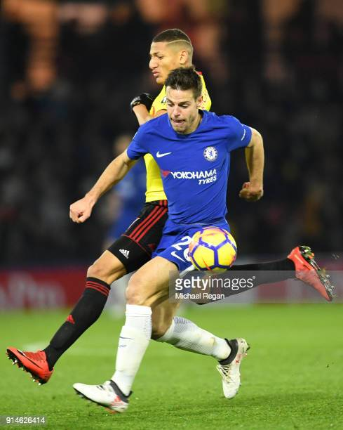 Cesar Azpilicueta of Chelsea holds of Richarlison de Andrade of Watford during the Premier League match between Watford and Chelsea at Vicarage Road...