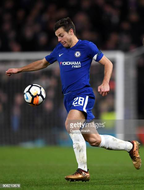 Cesar Azpilicueta of Chelsea in action during The Emirates FA Cup Third Round Replay between Chelsea and Norwich City at Stamford Bridge on January...