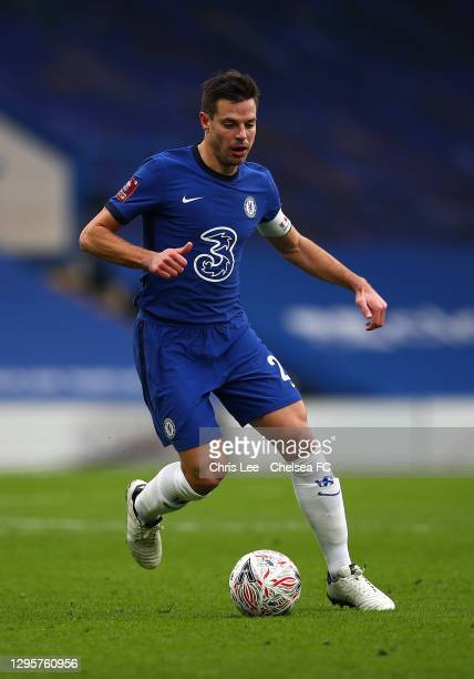Cesar Azpilicueta of Chelsea in action during the FA Cup Third Round match between Chelsea and Morecambe at Stamford Bridge on January 10, 2021 in...