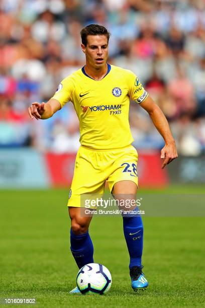 Cesar Azpilicueta of Chelsea in action during the Premier League match between Huddersfield Town and Chelsea FC at John Smith's Stadium on August 11...