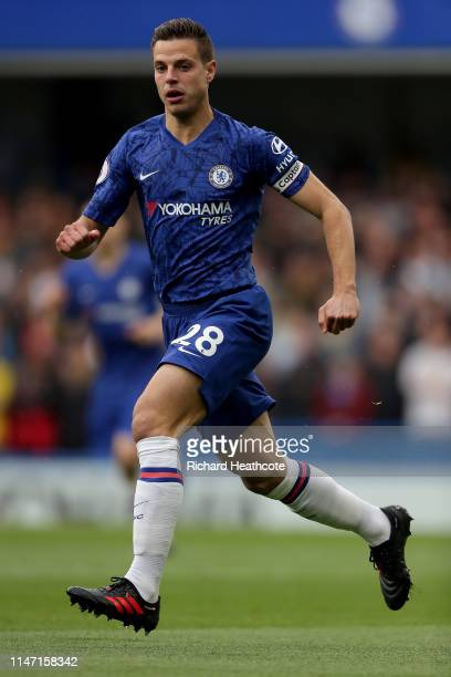 Cesar Azpilicueta of Chelsea in action during the Premier League match between Chelsea FC and Watford FC at Stamford Bridge on May 05 2019 in London...