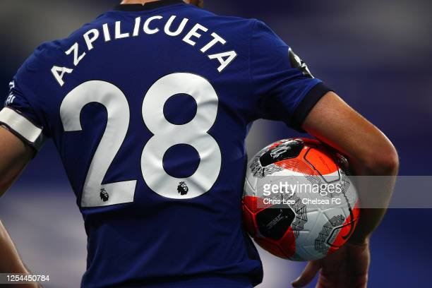 Cesar Azpilicueta of Chelsea in action during the Premier League match between Chelsea FC and Watford FC at Stamford Bridge on July 04 2020 in London...
