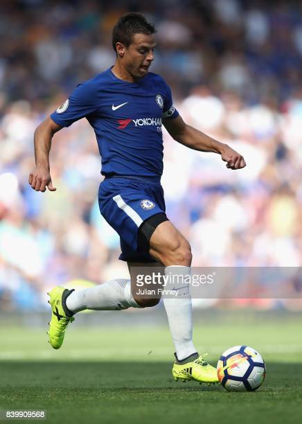 Cesar Azpilicueta of Chelsea in action during the Premier League match between Chelsea and Everton at Stamford Bridge on August 27 2017 in London...