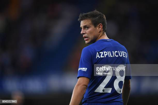 Cesar Azpilicueta of Chelsea in action during the Premier League match between Chelsea and Manchester City at Stamford Bridge on September 30 2017 in...