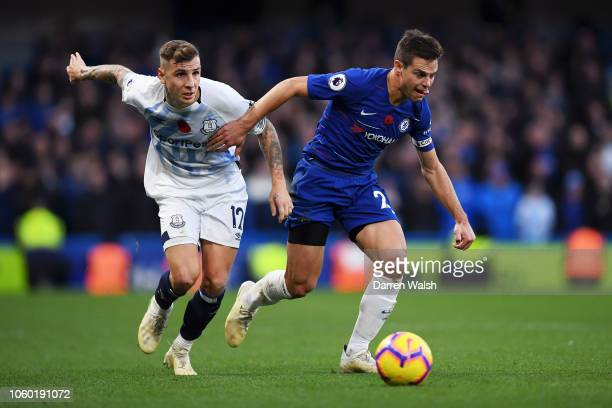 Cesar Azpilicueta of Chelsea is challenged by Lucas Digne of Everton during the Premier League match between Chelsea FC and Everton FC at Stamford...