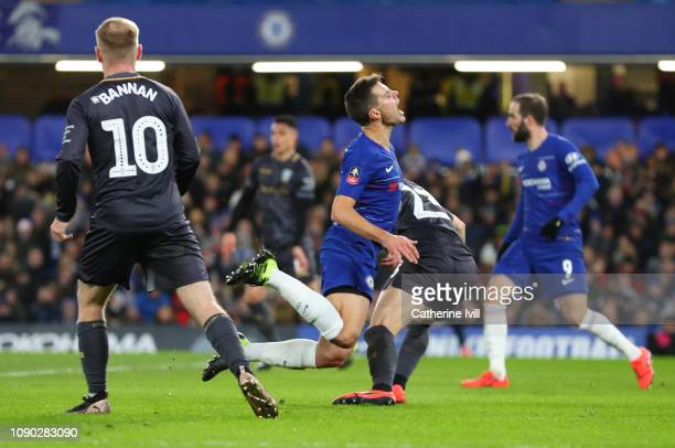 Cesar Azpilicueta of Chelsea is fouled by Sam Hutchinson of Sheffield Wednesday and a penalty is awarded to Chelsea during the FA Cup Fourth Round...