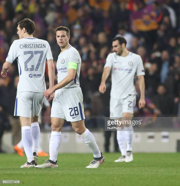 Cesar Azpilicueta of Chelsea is seen during the UEFA Champions League Round of 16 Second Leg match FC Barcelona and Chelsea FC at Camp Nou on March...