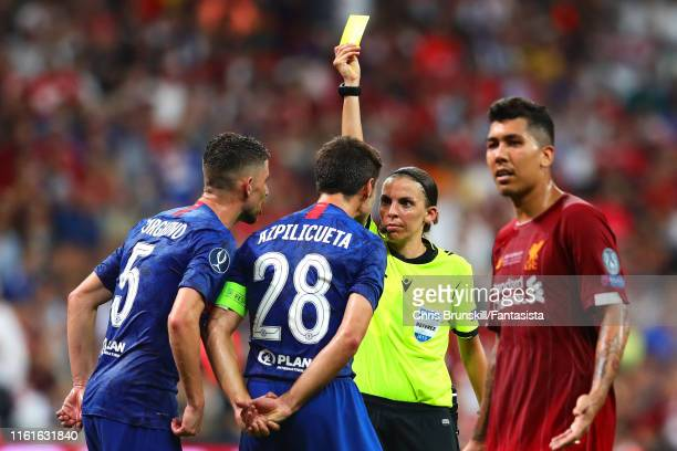 Cesar Azpilicueta of Chelsea is shown a yellow card by Referee Stephanie Frappart during the UEFA Super Cup match between Liverpool and Chelsea at...