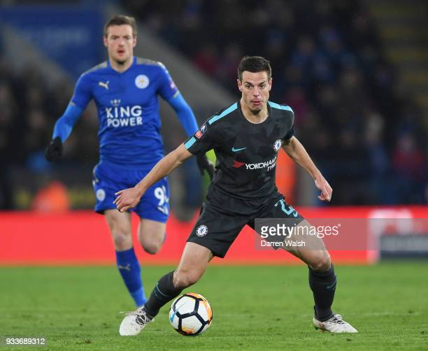 Cesar Azpilicueta of Chelsea is watched by Jamie Vardy of Leicester City during The Emirates FA Cup Quarter Final match between Leicester City and...