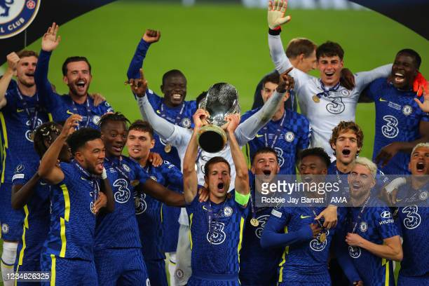 Cesar Azpilicueta of Chelsea lifts the UEFA Super Cup trophy after the 6-5 victory in a penalty shoot out during the UEFA Super Cup 2021 Final...