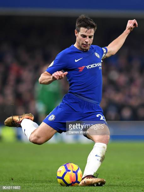 Cesar Azpilicueta of Chelsea passes the ball during the Premier League match between Chelsea and Leicester City at Stamford Bridge on January 13 2018...