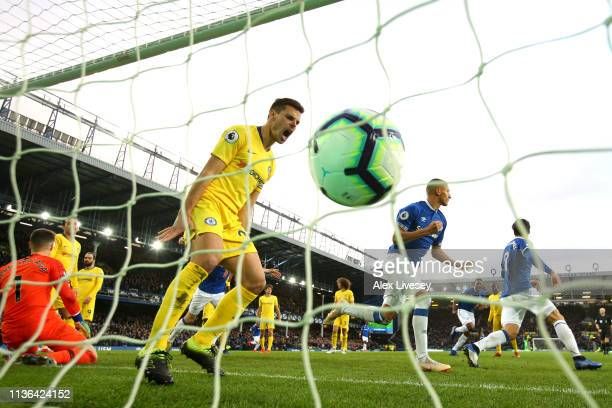 Cesar Azpilicueta of Chelsea reacts after Richarlison of Everton scores his sides first goal during the Premier League match between Everton FC and...