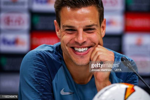Cesar Azpilicueta of Chelsea reacts during press conference ahead of the UEFA Europa League Final between Chelsea and Arsenal at Baku Olimpiya...