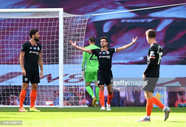 Cesar Azpilicueta of Chelsea reacts during the Premier League match between Aston Villa and Chelsea FC at Villa Park on June 21 2020 in Birmingham...