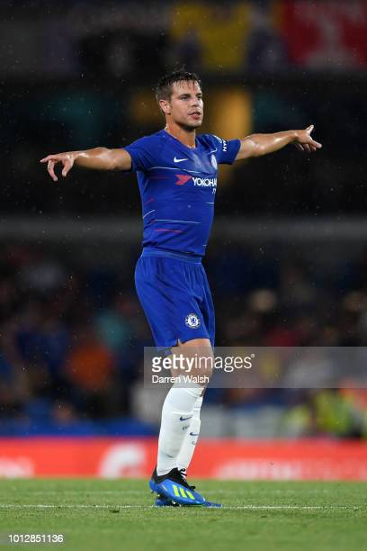 Cesar Azpilicueta of Chelsea reacts during the preseason friendly match between Chelsea and Lyon at Stamford Bridge on August 7 2018 in London England