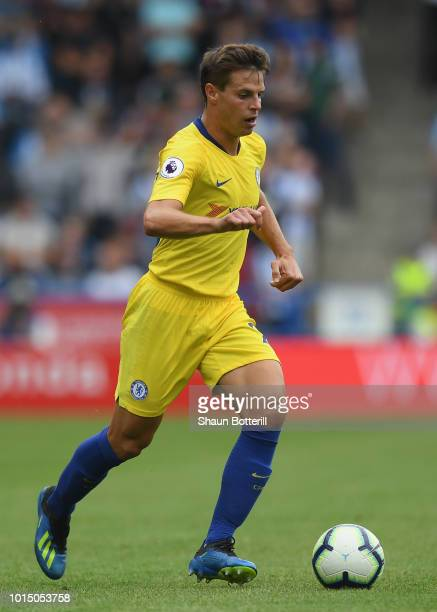Cesar Azpilicueta of Chelsea runs with the ball during the Premier League match between Huddersfield Town and Chelsea FC at John Smith's Stadium on...