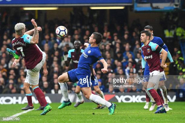 Cesar Azpilicueta of Chelsea scores his sides first goal during the Premier League match between Chelsea and West Ham United at Stamford Bridge on...