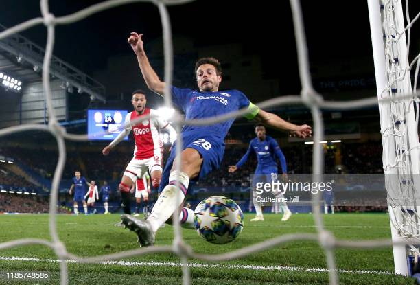 Cesar Azpilicueta of Chelsea scores his team's second goal during the UEFA Champions League group H match between Chelsea FC and AFC Ajax at Stamford...