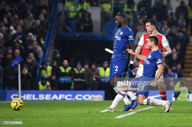 Cesar Azpilicueta of Chelsea scores his team's second goal during the Premier League match between Chelsea FC and Arsenal FC at Stamford Bridge on...