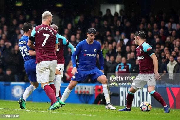 Cesar Azpilicueta of Chelsea scores the opening goal during the Premier League match between Chelsea and West Ham United at Stamford Bridge on April...