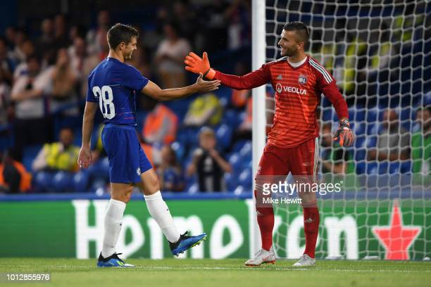 Cesar Azpilicueta of Chelsea shake hands with Anthony Lopes of Lyon after the preseason friendly match between Chelsea and Lyon at Stamford Bridge on...