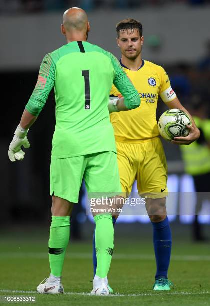 Cesar Azpilicueta of Chelsea shakes hands with Willy Caballero of Chelsea after the International Champions Cup 2018 match between Chelsea and FC...