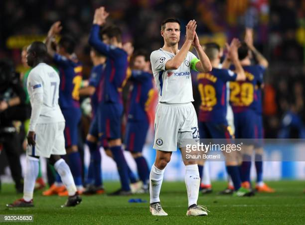 Cesar Azpilicueta of Chelsea shows appreciation to the fans after the UEFA Champions League Round of 16 Second Leg match FC Barcelona and Chelsea FC...