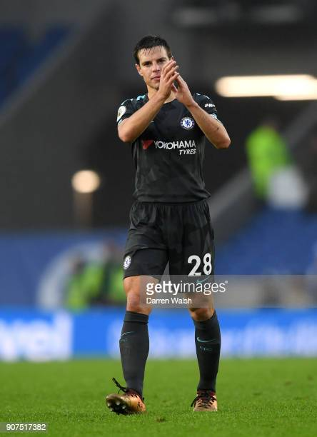 Cesar Azpilicueta of Chelsea shows appreciation to the fans following the Premier League match between Brighton and Hove Albion and Chelsea at Amex...