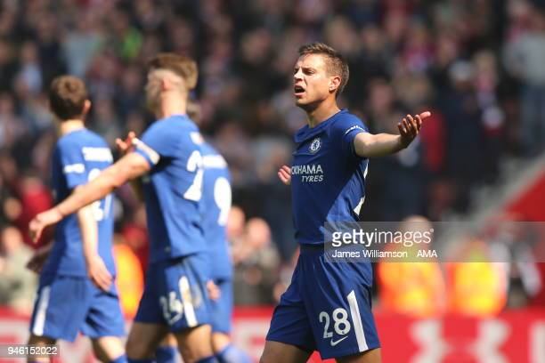 Cesar Azpilicueta of Chelsea shows his frustration after PierreEmile Hojbjerg of Southampton scores a goal to make it 20 during the Premier League...