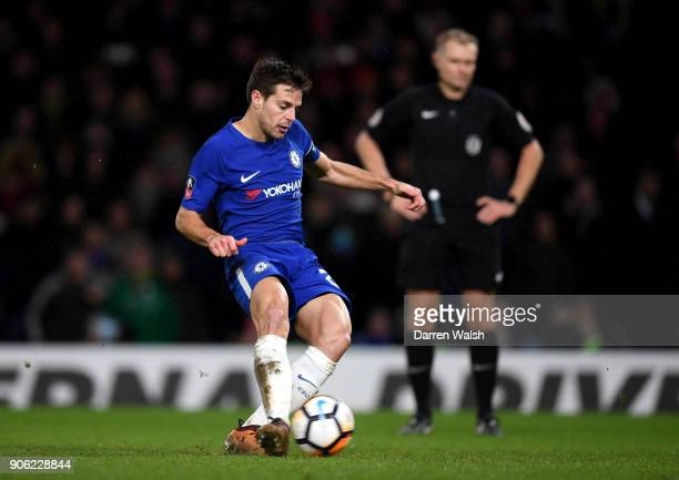 Cesar Azpilicueta of Chelsea takes and scores his penalty during The Emirates FA Cup Third Round Replay between Chelsea and Norwich City at Stamford...